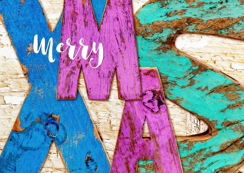 Kerstkaarten - XMAS letters uit sloophout