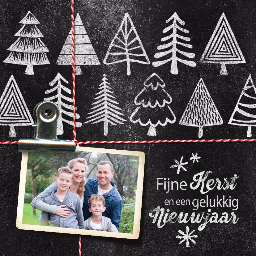 Kerstkaarten - YVON kerstbomen foto krijt