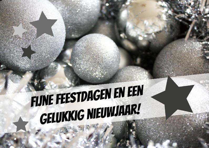 Kerstkaarten - zilveren kerstballen