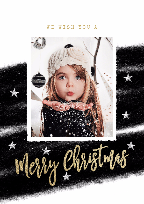 Kerstkaarten - Zwart wit kerstkaart streep foto