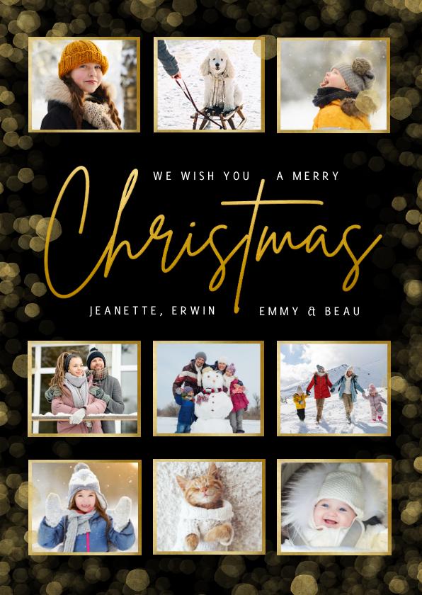 Kerstkaarten - Zwarte fotocollage kerstkaart met goudlook merry christmas