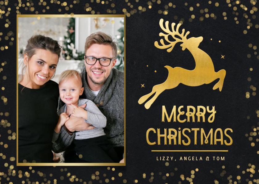 Kerstkaarten - Zwarte liggende kerstkaart met rendier en foto