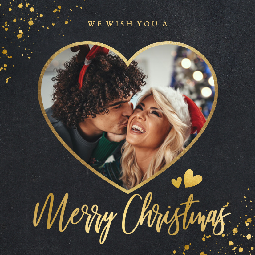 Kerstkaarten - Zwarte vierkante kerstkaart met gouden hart met foto
