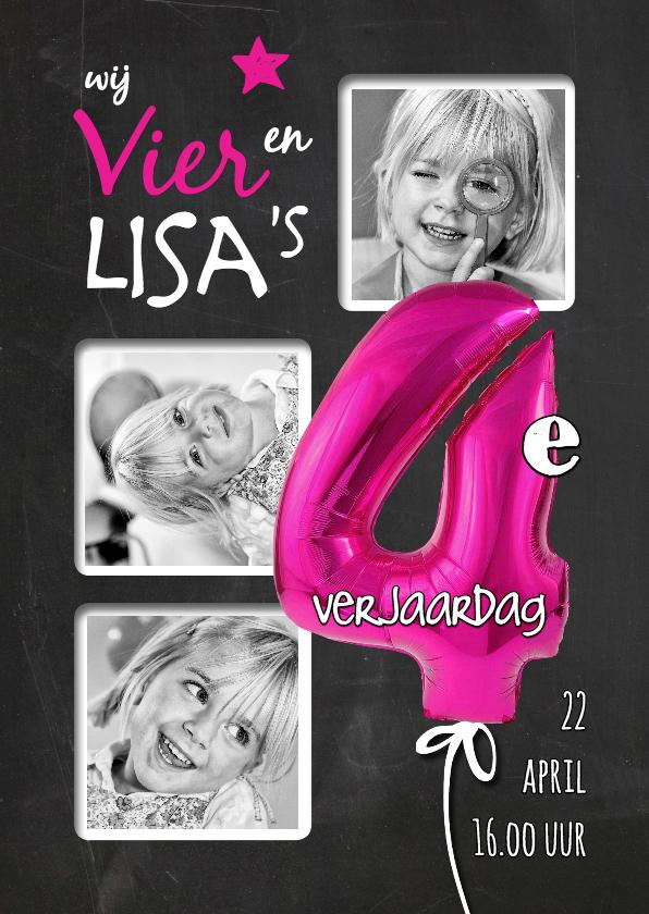 Kinderfeestjes - Uitnodiging Verjaardag ballon roze 4