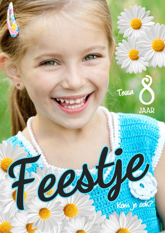 Kinderfeestjes - Bloemen uitnodiging meisje