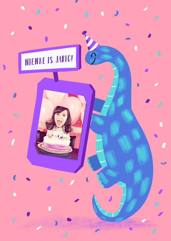 Kinderfeestjes - Dinofeestje uitnodiging voor een meisje