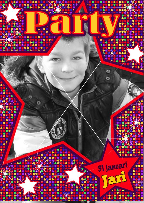 Kinderfeestjes - DISCO UITNODIGING jongens STER S