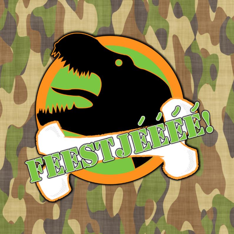 Kinderfeestjes - Feest T-rex legerprint