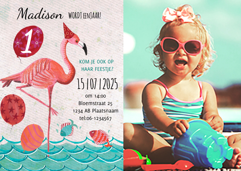 Kinderfeestjes - Flamingo 1 jaar zomer feestje
