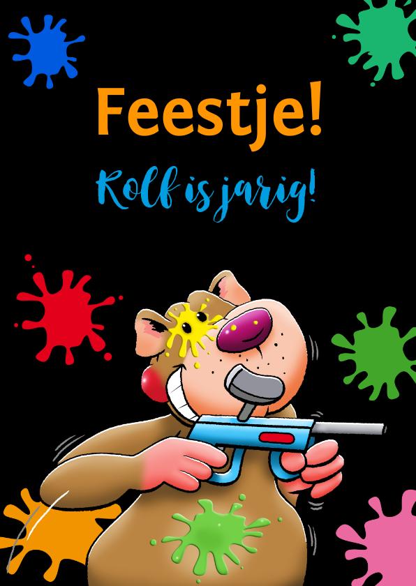 Kinderfeestjes - Grappige uitnodiging voor kinderfeest paintball met beertje