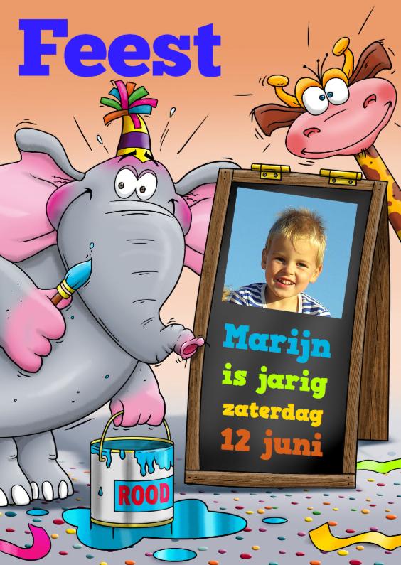Kinderfeestjes - Grappige utnodiging kinderfeest met olifant, giraf en foto