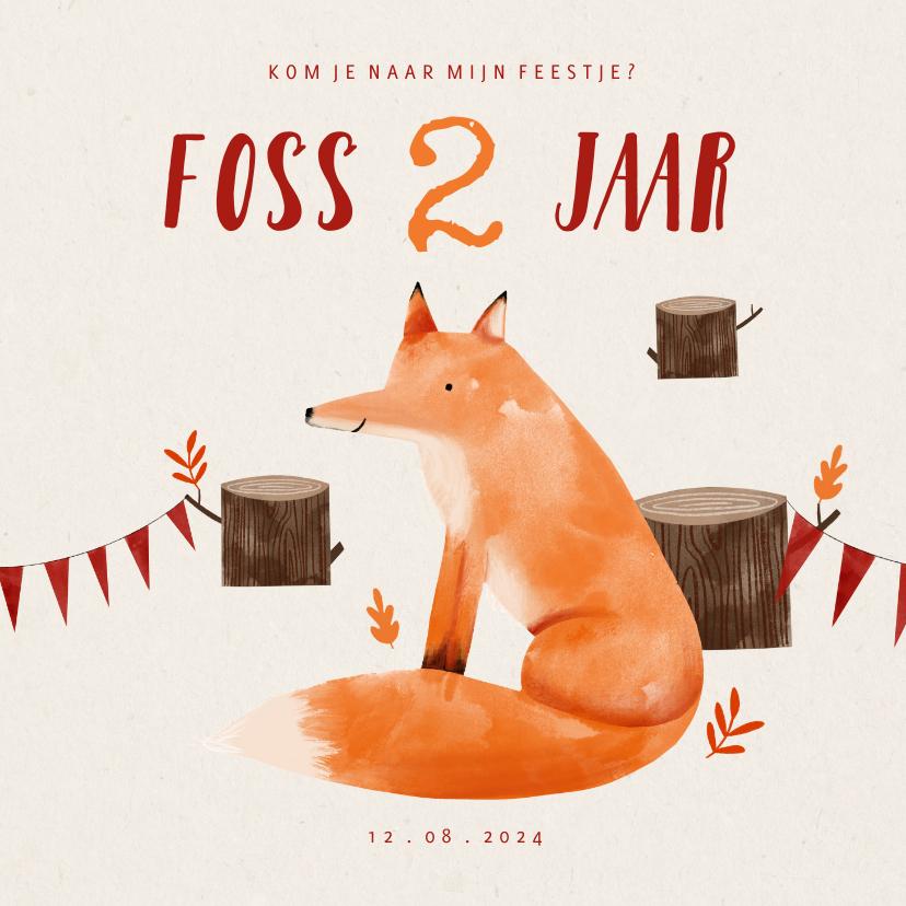Kinderfeestjes - Hip kinderfeestje uitnodiging vosje in het bos en slingers