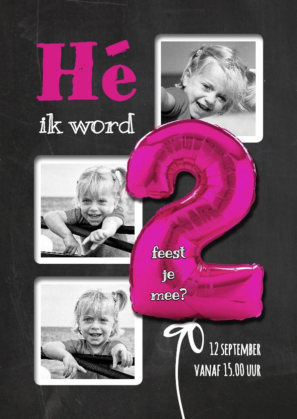 Kinderfeestjes - Hippe Uitnodiging 2 Roze Staand - SG