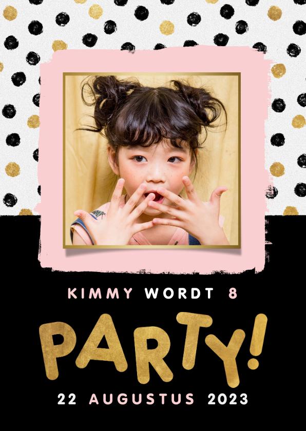 Kinderfeestjes - Hippe uitnodiging kinderfeestje met stipjes, kader en party!