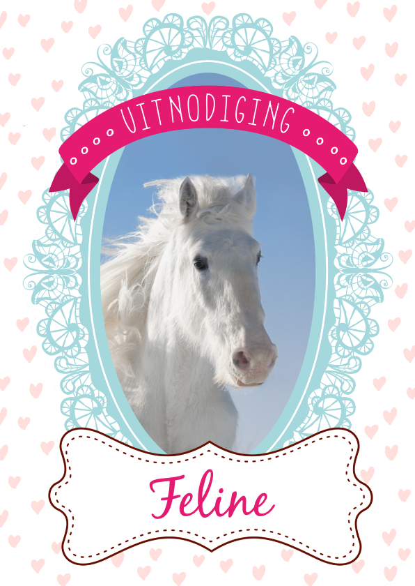Kinderfeestjes - Hippe uitnodiging met paardje