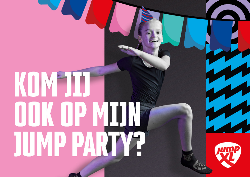 Kinderfeestjes - Jump XL kinderfeest uitnodiging Meisje