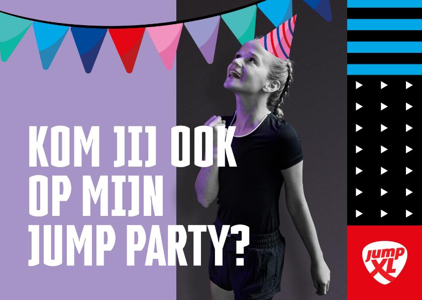 Kinderfeestjes - Jump XL kinderfeestje uitnodiging Meisje