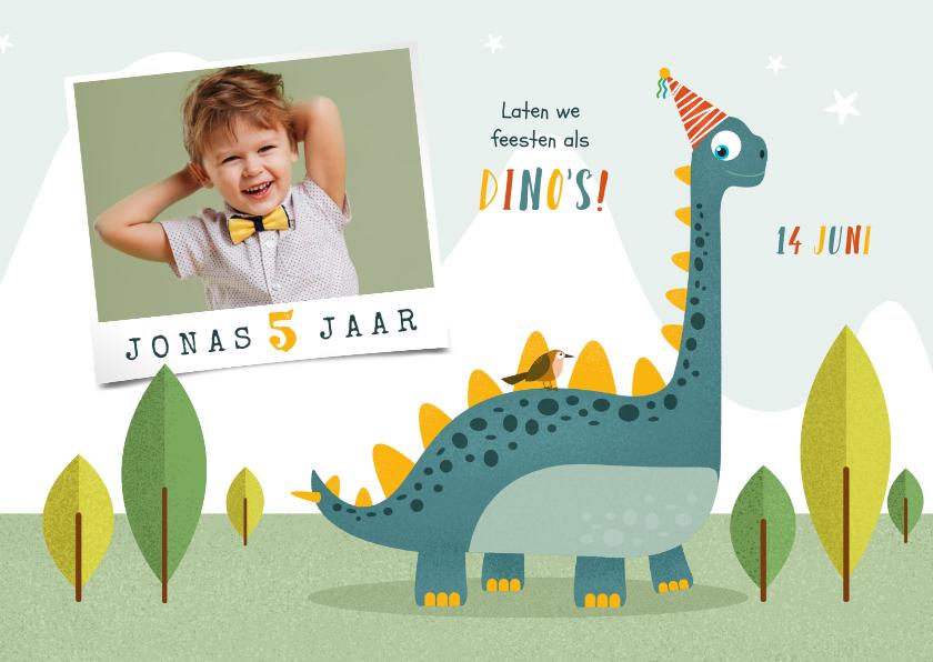 Kinderfeestjes - Kindefeestje dino feest vrolijk fotokaart brachiosaurus