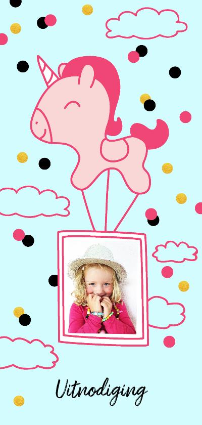 Kinderfeestjes - Kindefeestje  meisje unicorn luchtballon met  foto