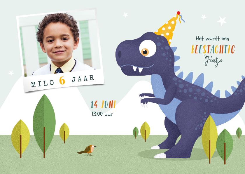 Kinderfeestjes - Kindefeestje t-rex feest vrolijk dinosaurus vogel foto
