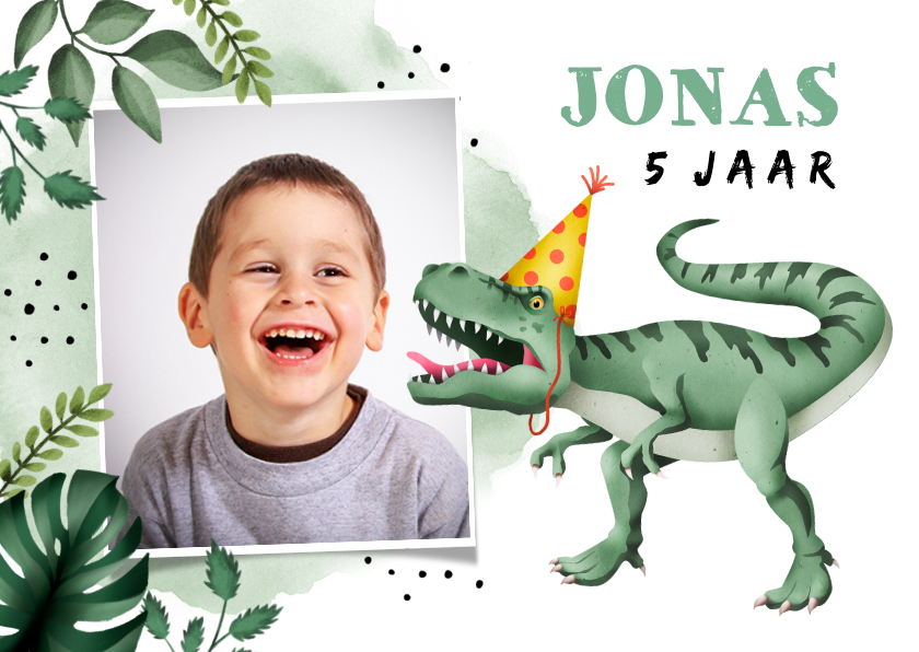Kinderfeestjes - Kinderfeest uitnodiging stoer met t-rex en eigen foto