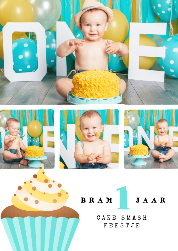 Kinderfeestjes - Kinderfeestje 1 jaar cake smash collage cupcake