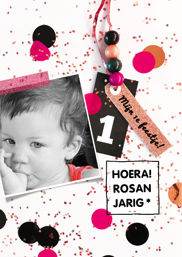 Kinderfeestjes - Kinderfeestje 1 jaar confetti girl