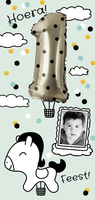 Kinderfeestjes - Kinderfeestje 1 jaar folie ballon met stippen