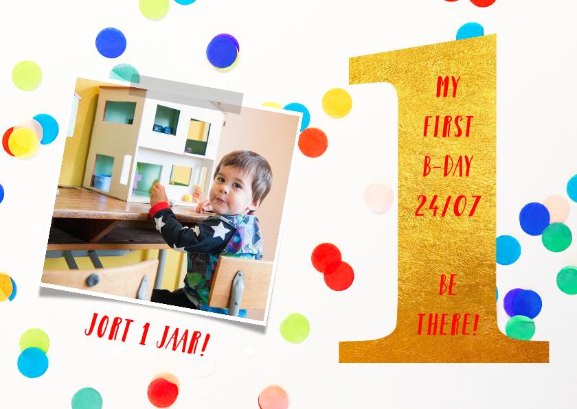 Kinderfeestjes - kinderfeestje 1 jaar goud en confetti gekleurd