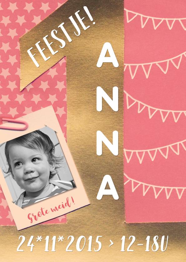 Kinderfeestjes - Kinderfeestje 1 jaar goud roze vlaggetjes