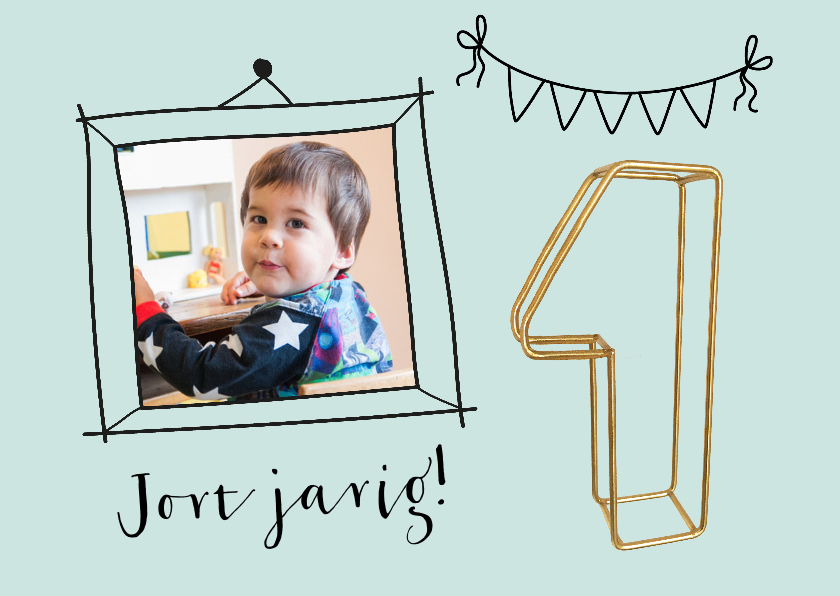 Kinderfeestjes - Kinderfeestje 1 jaar jongen gouddraad