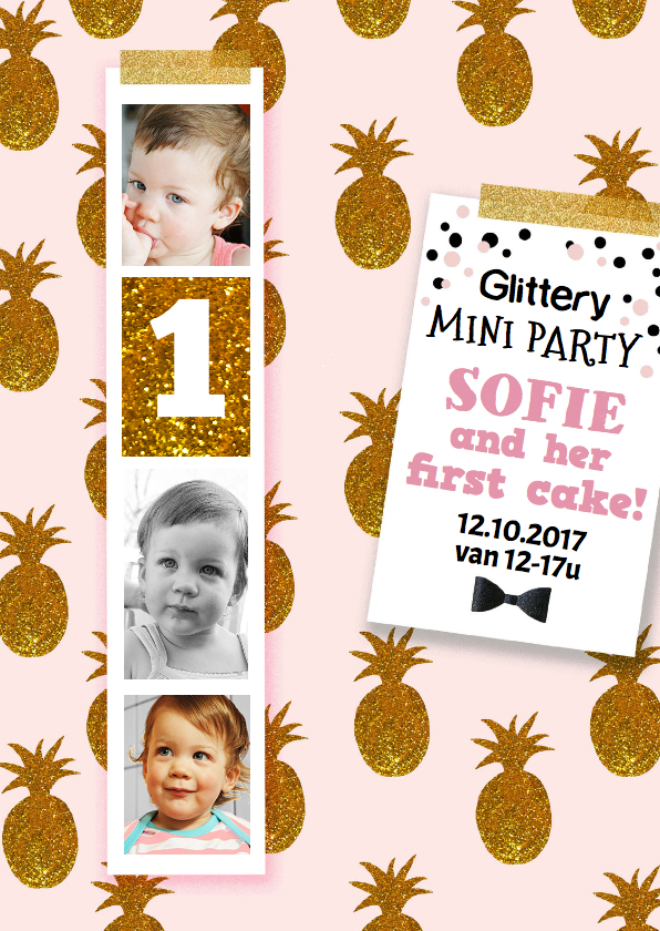 Kinderfeestjes - Kinderfeestje 1 jaar meisje goud