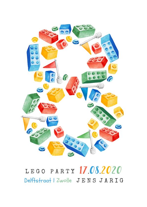 Kinderfeestjes - kinderfeestje 8 jaar lego party vrolijk kleurrijk