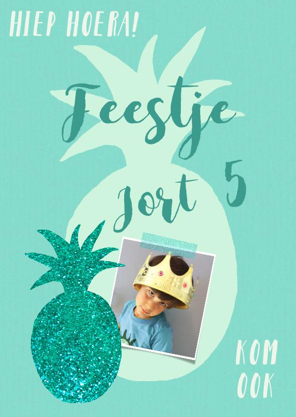 Kinderfeestjes - Kinderfeestje ananas blauw groen glitter