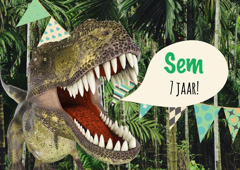 Kinderfeestjes - Kinderfeestje, angstaanjagend leuke uitnodiging met dino