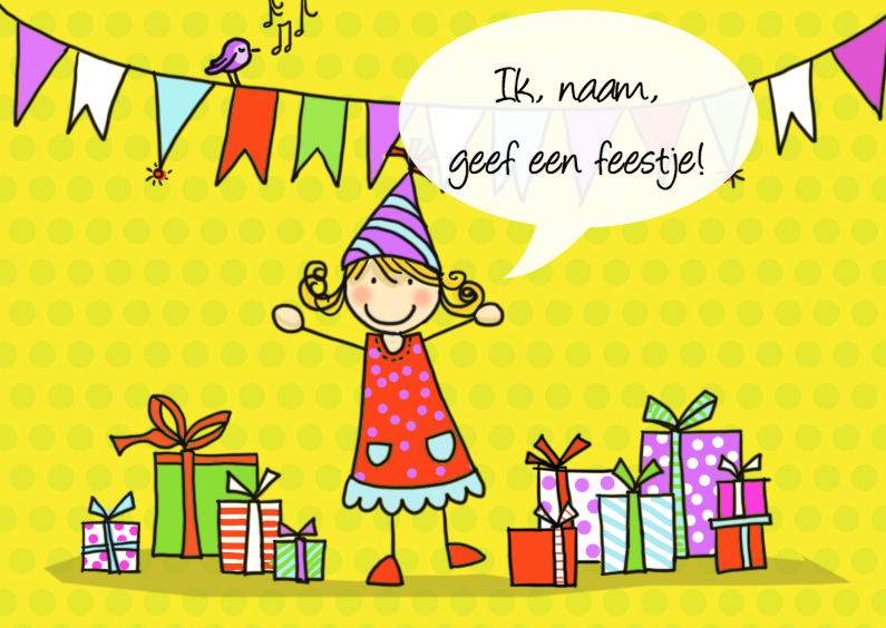 Kinderfeestjes - Kinderfeestje Anke geel met tekstballon
