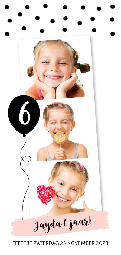 Kinderfeestjes - Kinderfeestje confetti ballon fotocollage langwerpig