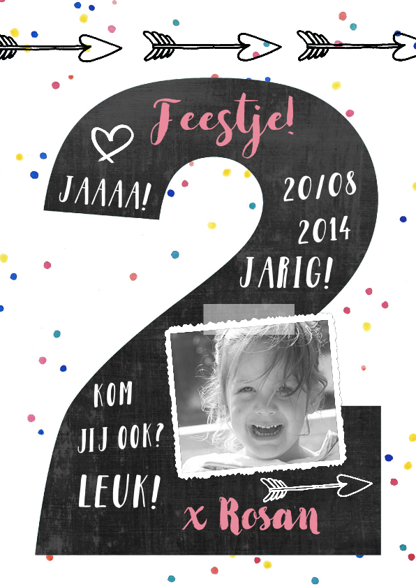Kinderfeestjes - Kinderfeestje confetti foto 2 jaar