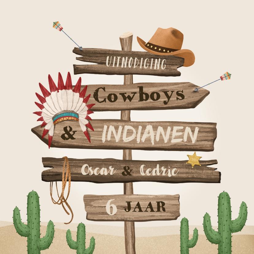 Kinderfeestjes - Kinderfeestje cowboys indianen wegwijzers western hout
