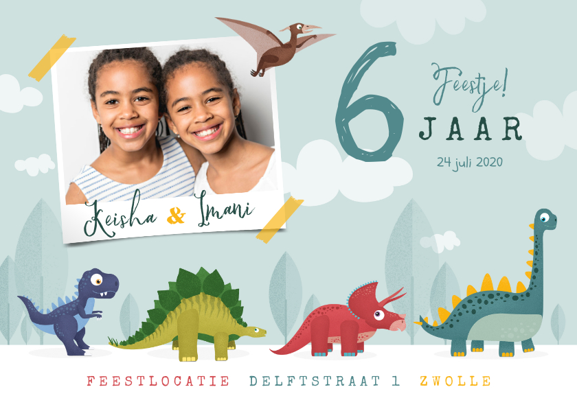 Kinderfeestjes - Kinderfeestje dinosaurussen feestje vrolijk foto tweeling
