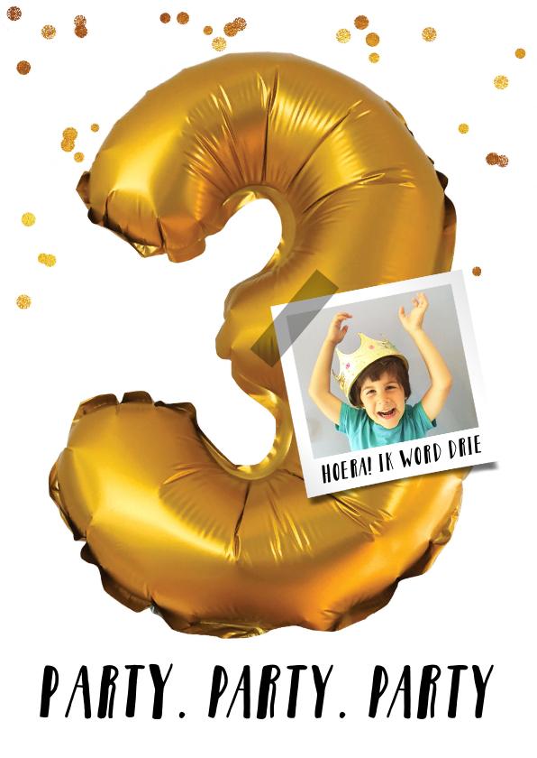 Kinderfeestjes - Kinderfeestje drie jaar goud confetti voor jongen  of meisje