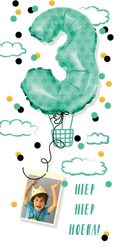 Kinderfeestjes - Kinderfeestje  drie jaar jongen luchtballon confetti