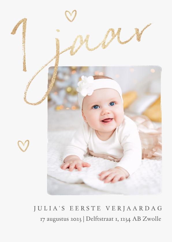 Kinderfeestjes - Kinderfeestje eerste verjaardag goud stijlvol hartjes foto