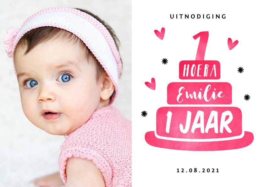 Kinderfeestjes - Kinderfeestje eerste verjaardag uitnodiging hip roze