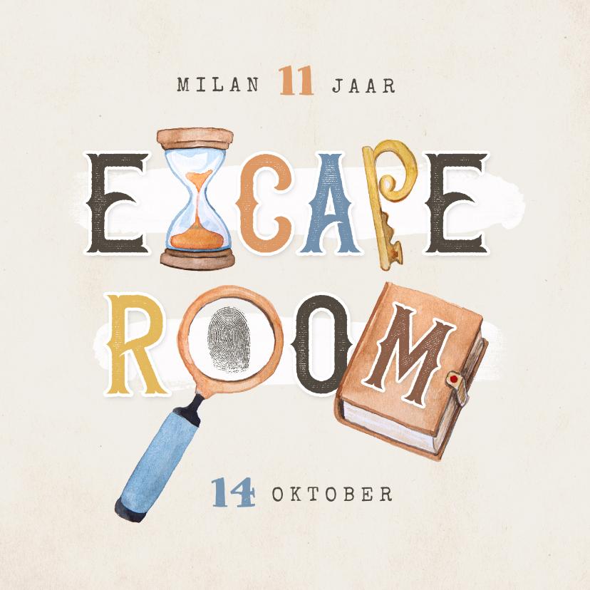 Kinderfeestjes - Kinderfeestje escaperoom mysterie detective uitnodiging