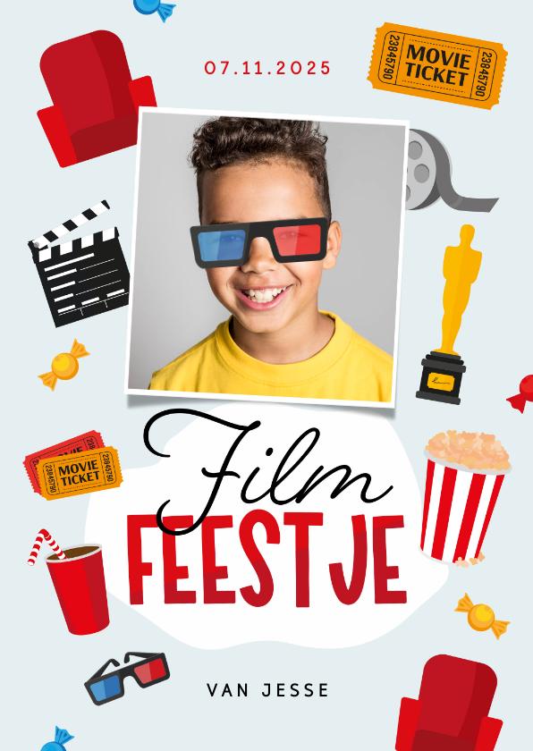Kinderfeestjes - Kinderfeestje filmfeestje bioscoop popcorn 3d bril foto