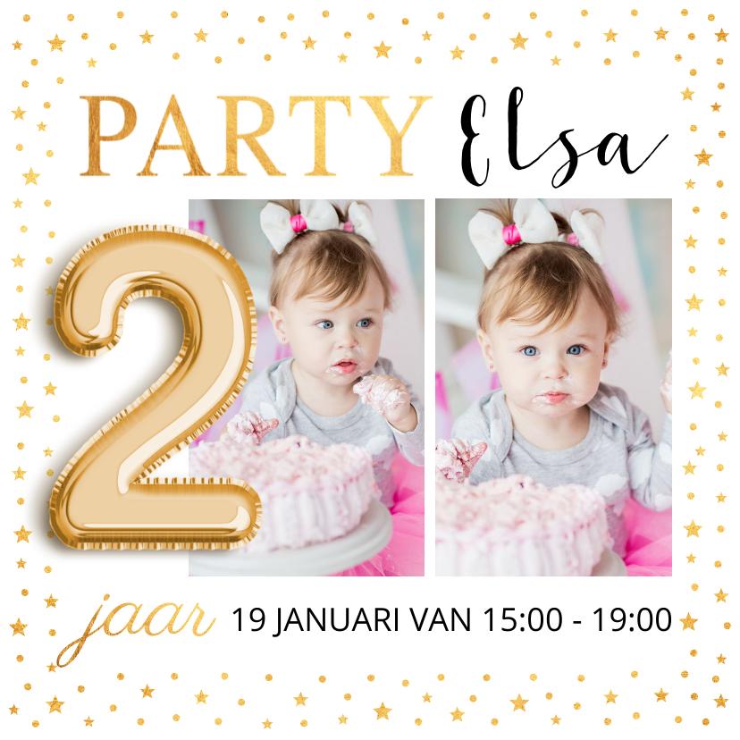Kinderfeestjes - Kinderfeestje foto ballon 2 jaar goud confetti uitnodiging