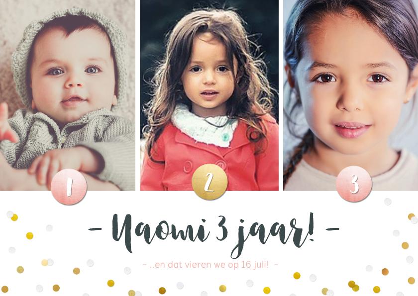 Kinderfeestjes - Kinderfeestje fotocollage 3 jaar met 3 foto's en confetti