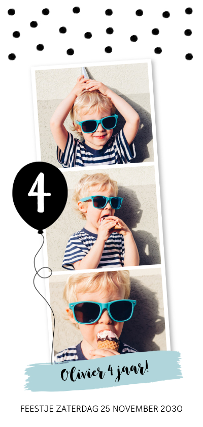 Kinderfeestjes - Kinderfeestje fotocollage langwerpig confetti jongen