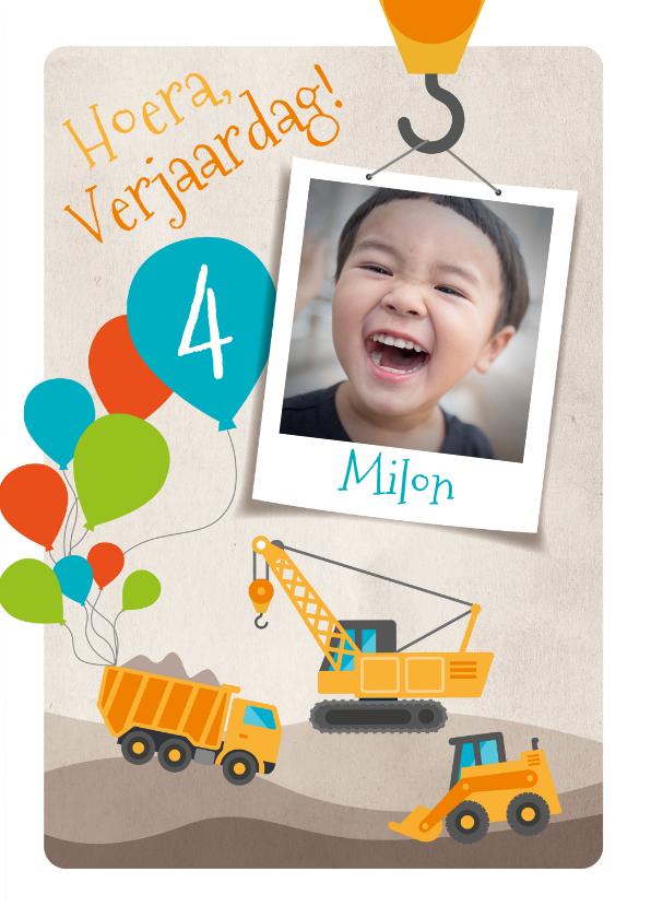 Kinderfeestjes - Kinderfeestje graafmachine uitnodiging